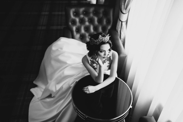 Portrait of beautiful bride. Wedding dress.
